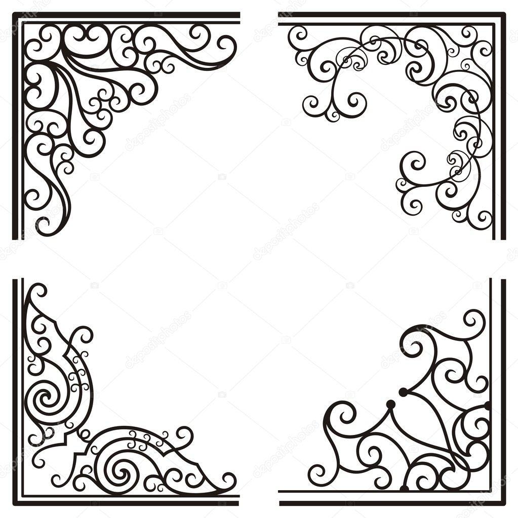 Exquisite Corner Ornamental Designs — Stock Vector ...