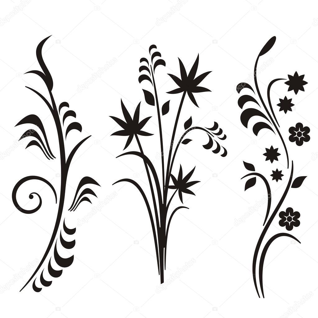 a set of 3 japanese floral designs stock vector clipart design rh depositphotos com Scroll Clip Art Cupcake Clip Art