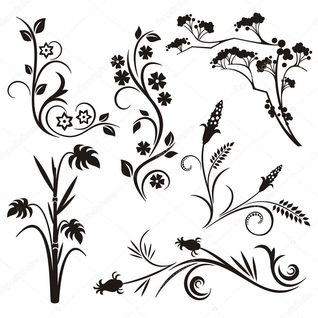 Un set di 6 disegni floreali giapponesi \u2014 Vettoriale Stock