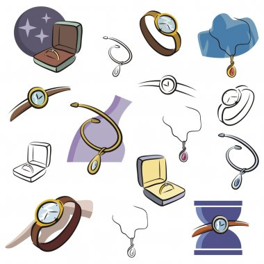 A set of jewelry and watch vector icons in color, and black and white renderings.