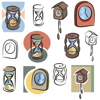 A set of clock and hourglass vector icons in color, and black and white renderings.