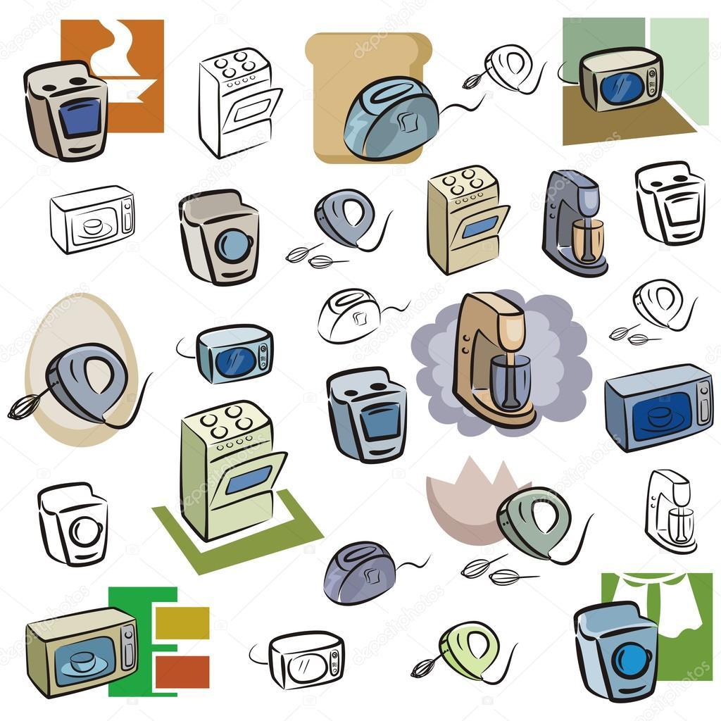 Un set di icone vettoriali di elettrodomestici da cucina - Immagini di elettrodomestici ...