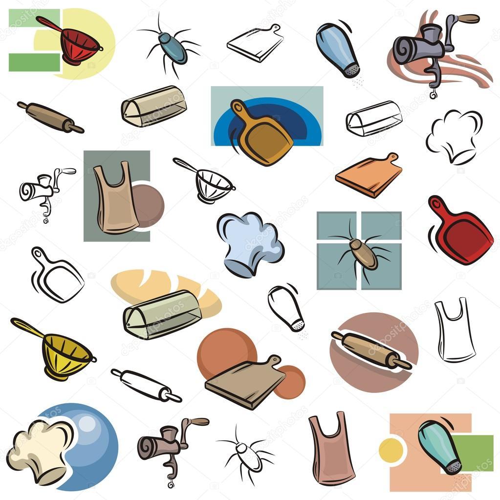 Eine Reihe Von Variuos Kuche Vektor Icons In Farbe Und Schwarz Weiss