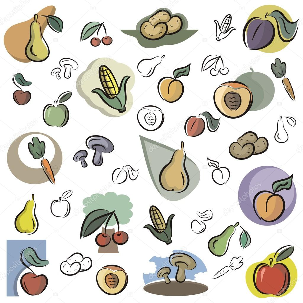a set of vector icons of fruits and vegetables in color and black