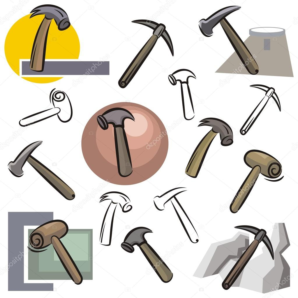 A set of vector icons of hammers in color, and black and white renderings.