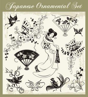 Japanese Traditional Ornaments Vector Set