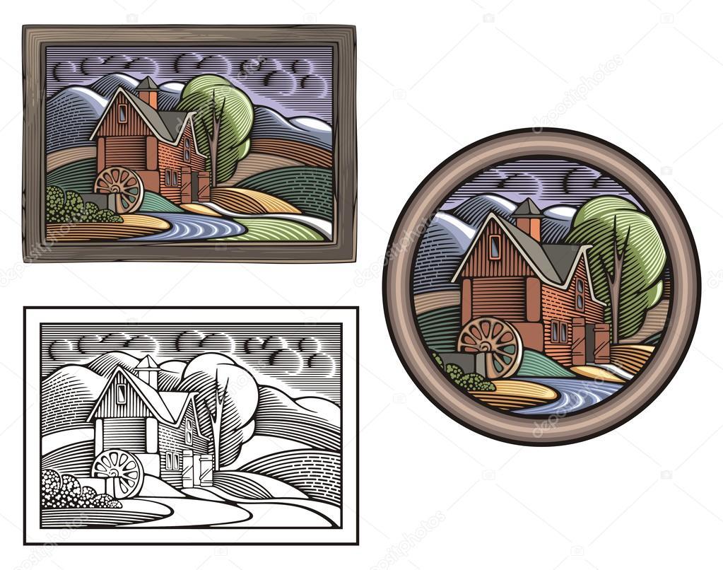 Abbildung Land Und Landwirtschaft Stockvektor Clipart Design
