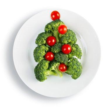 Christmas tree made from broccoli