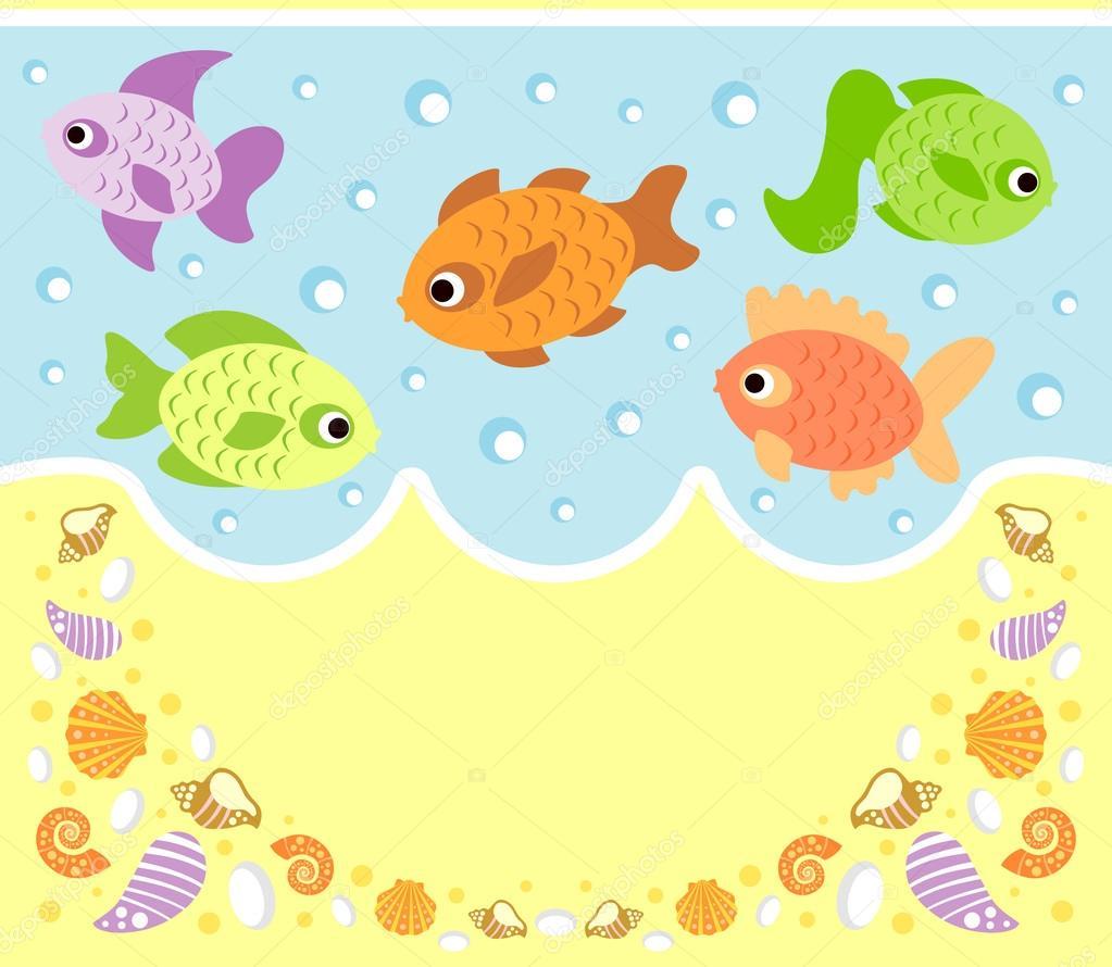 Animali marini cartone animato sfondo con pesce for Sfondo animato pesci