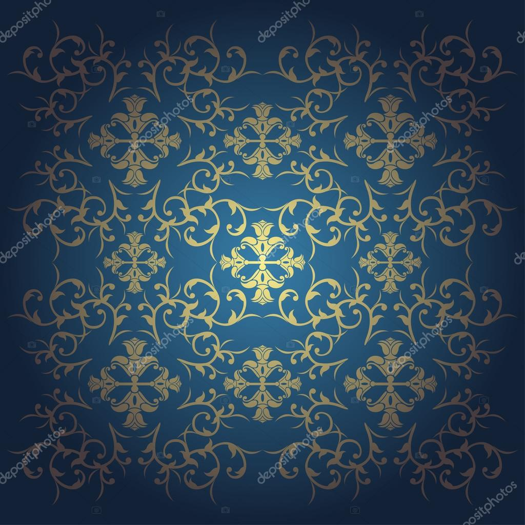 Vector Baroque Flowers Background Blue Stock Vector
