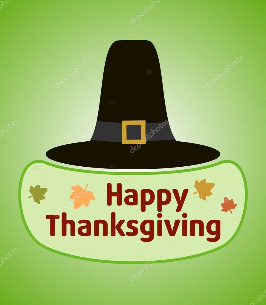 Fondo de acción de Gracias con sombrero de peregrino — Vector de ...