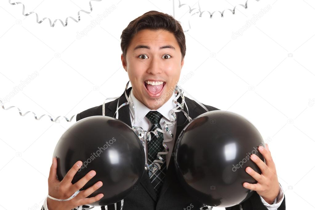 Crazy party guy with balloons