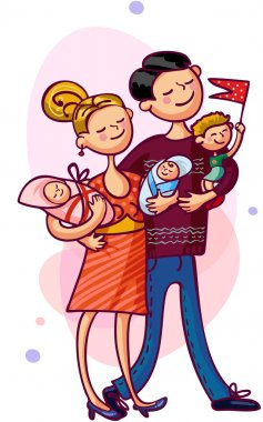Parents and children. Happy young family clip art vector