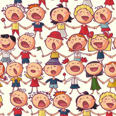 Kids сhoir singing seamless vector pattern clip art vector