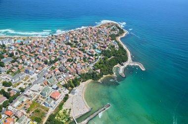 Primorsko, primorsko town, primorsko peninsula, bulgaria, black sea, vacation, sea waves, bird's eye, beach stock vector