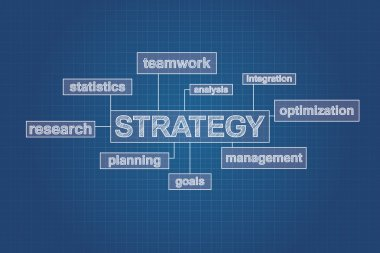 Strategy planning concept word cloud on blueprint, technical drawing.