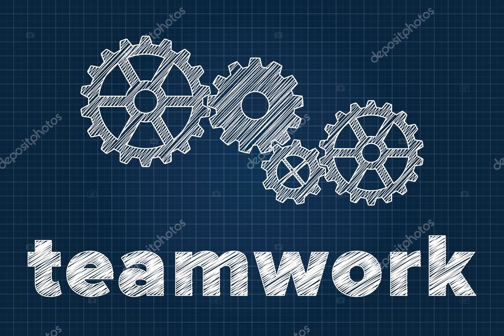 Teamwork concept with gears on blueprint scribbled style stock teamwork concept with gears on blueprint scribbled style stock vector malvernweather Image collections
