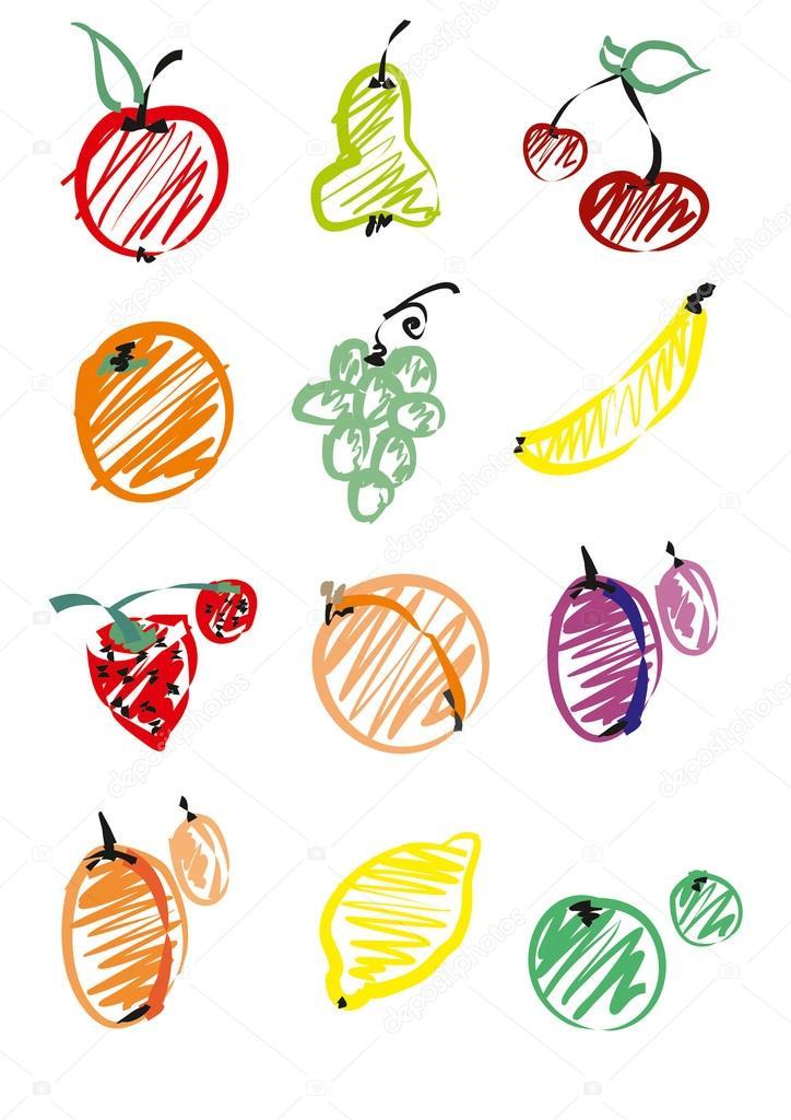 set vegetables and fruit