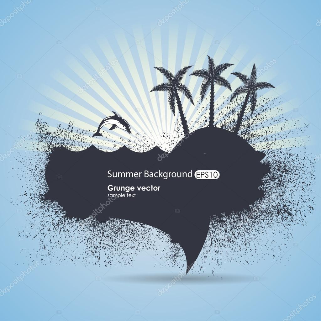 Grungy summer vector with the island and dolphins on a blue bac