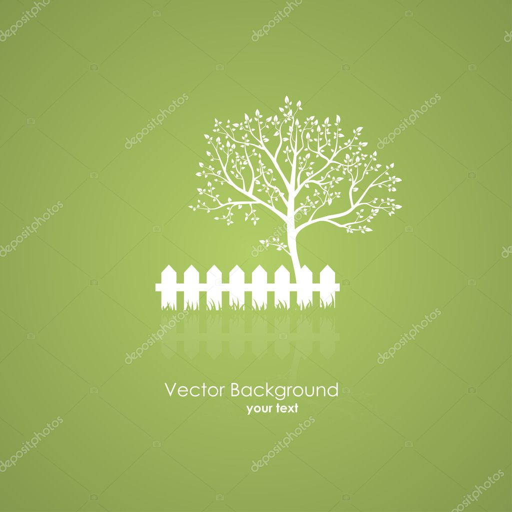 Summer garden with a tree and a light fence. Vector green backgr