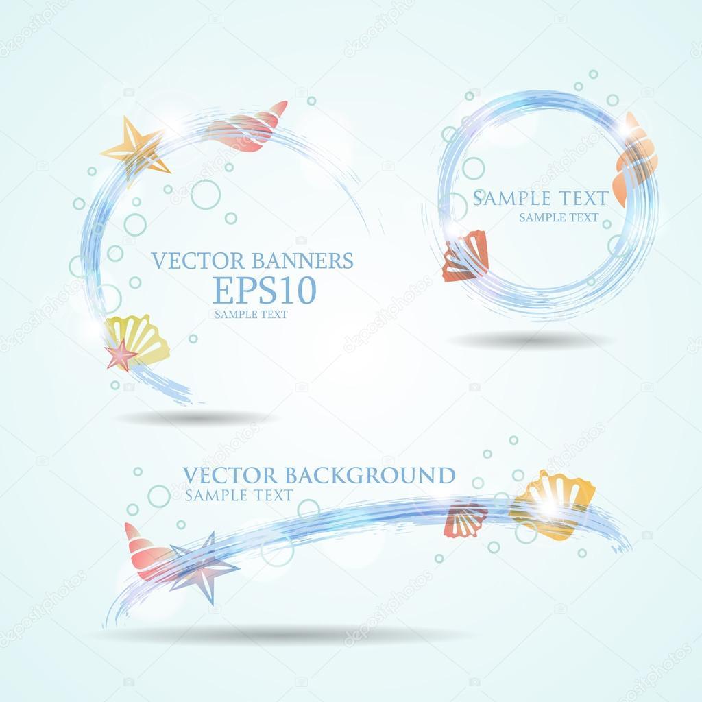 Set of three banners with seashells.Vector illustration of fresh