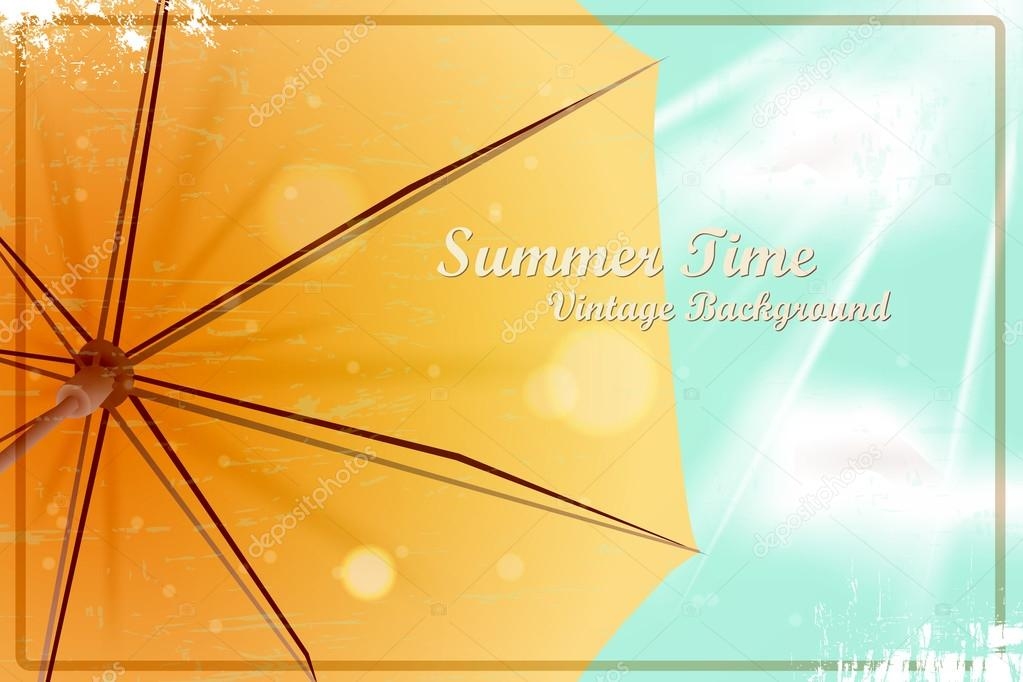 Summer bright sunny vintage background. Umbrella under the blue