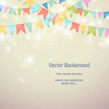 Holiday background with colored bunting flags.
