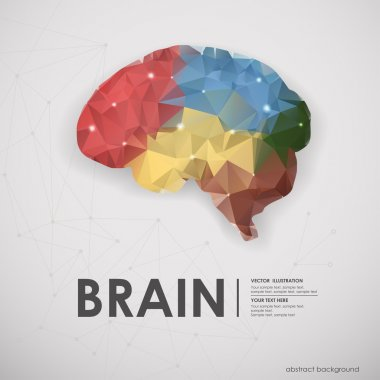 Abstract colored polygons of the human brain background.