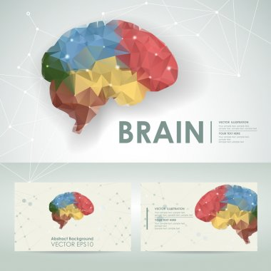 Brain science design element template with business card