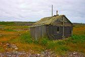 Staré opuštěné fishermans kabiny na pobřeží Bílého moře, Severní russ