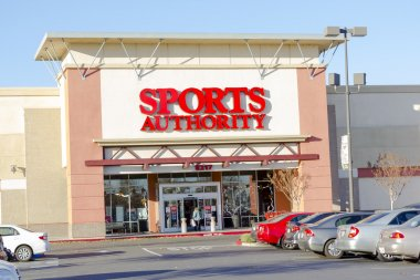 SACRAMENTO, USA - DECEMBER 21: Sports Authority entrance on Dec