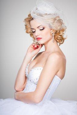 beautiful bride portrait wearing professional make-up shoot in the studio