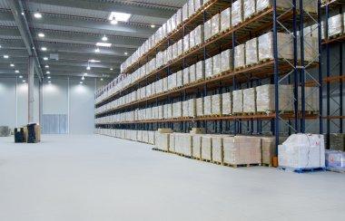 Interior of a warehouse stock vector