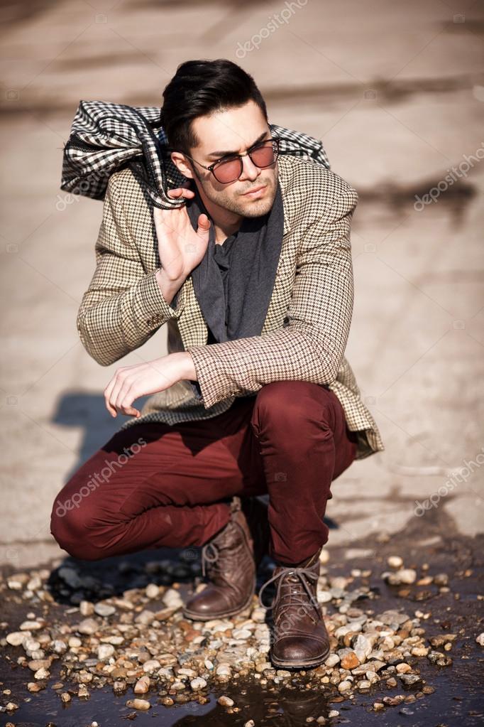 Sexy Fashion Man Model Dressed Elegant Holding A Bag Posing Outdoor Photo By Matusciac