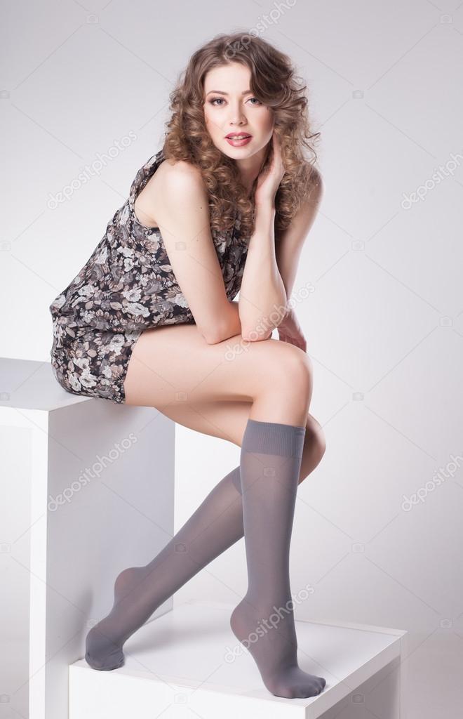 Brünette Teen Hohe Socken