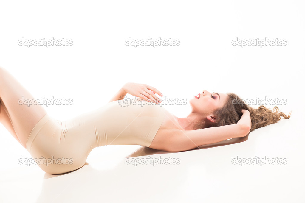 184b38bc48b00 Woman dressed in modeling body — Stock Photo © matusciac  48972923