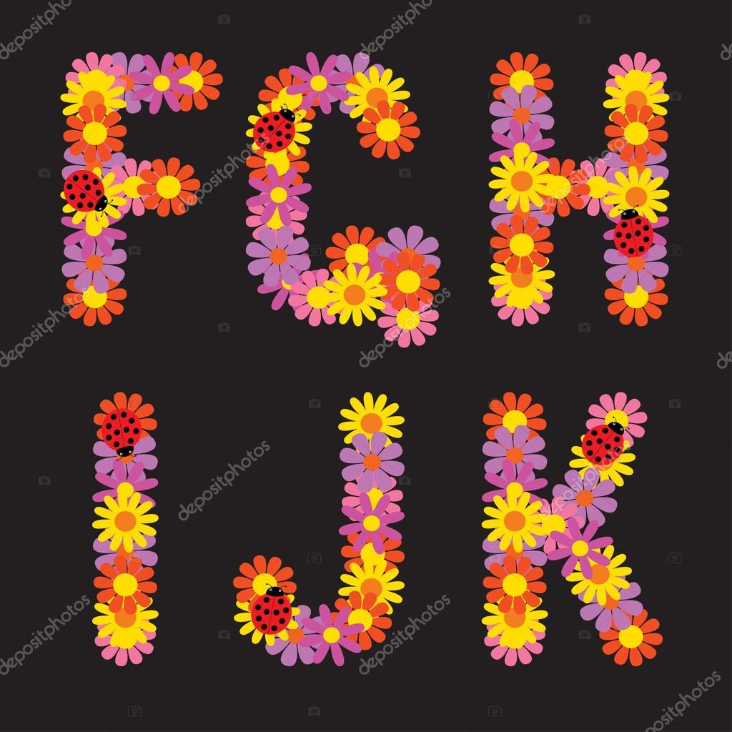 Letters of flowers.
