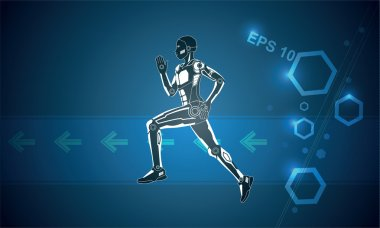 Running robot on blue background