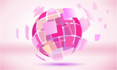 Pink squared abstract globe sphere symbol