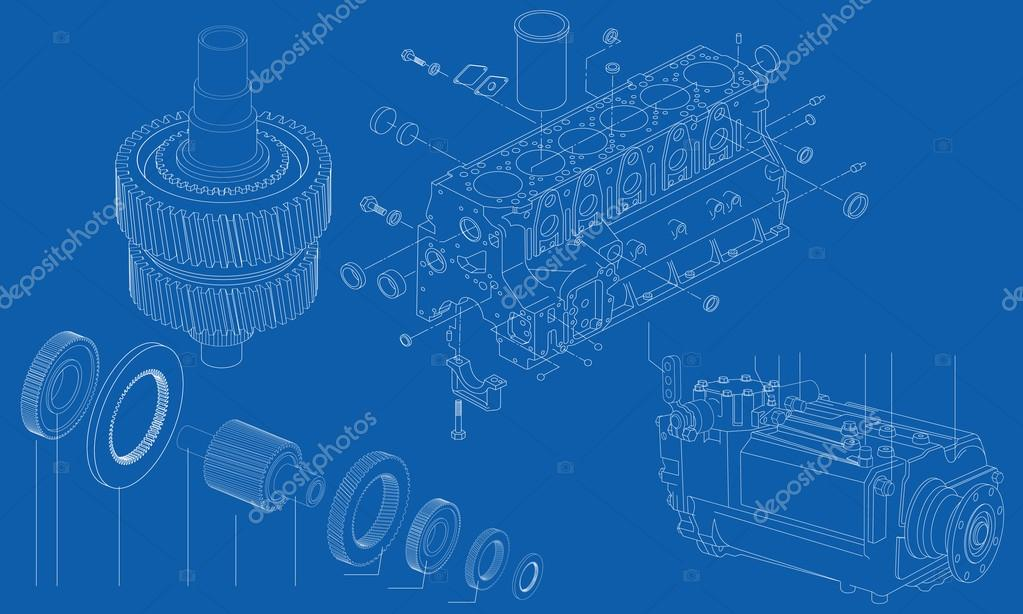 Complicated engineering drawing of car engine sections, vector ...