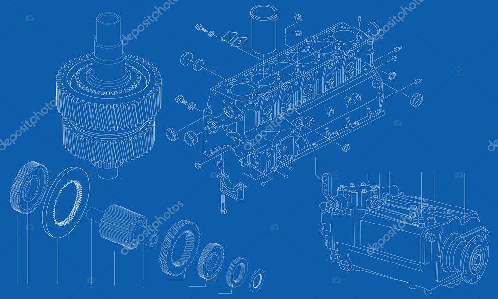 komplizierte technische Zeichnung von Auto-Motor-Abschnitte, Vektor ...