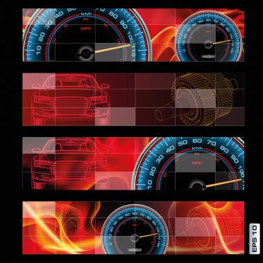 Abstract design of speedometer, sensor, indicator, and clock sam