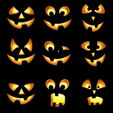 Set of Halloween pumpkin face impressions for American holiday c