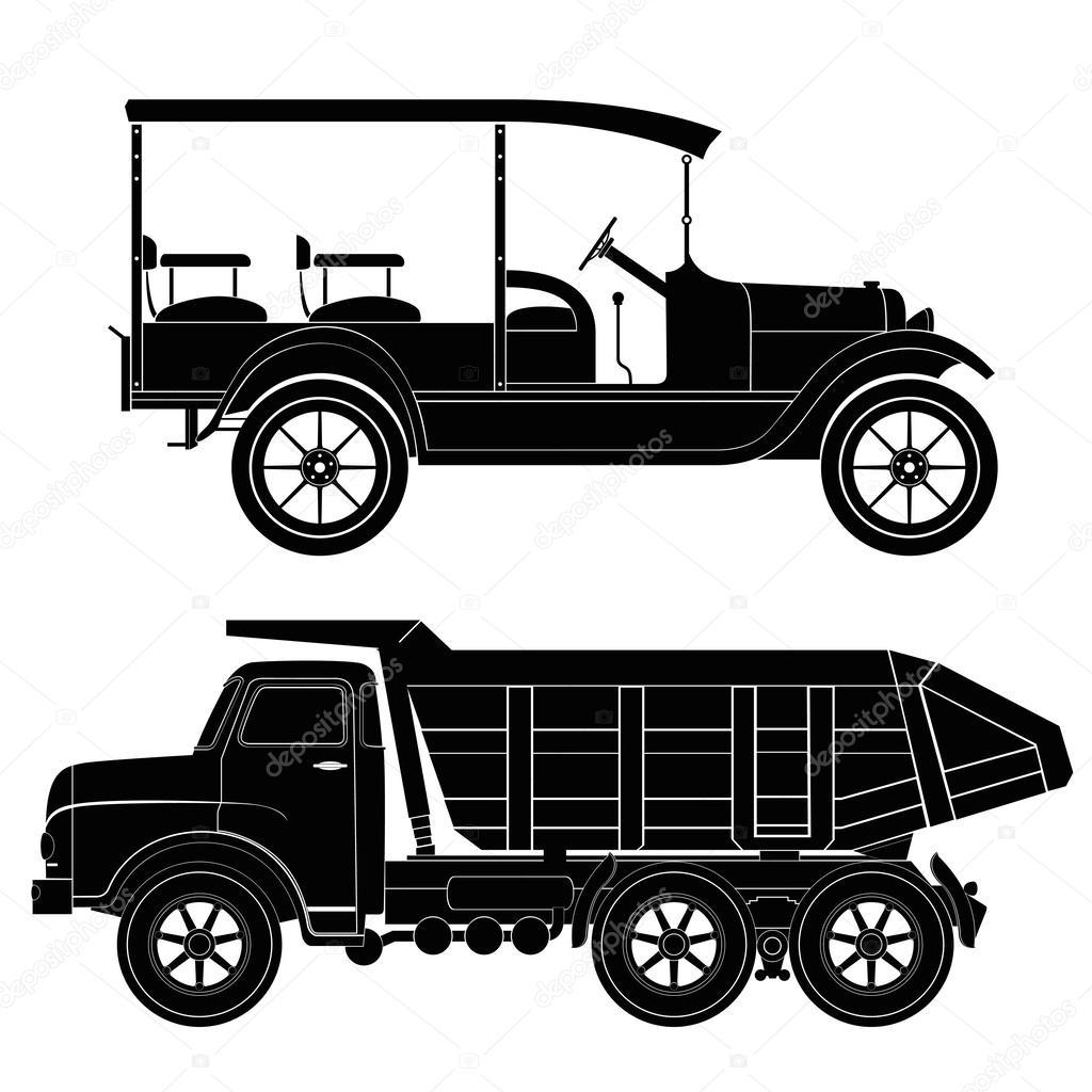 Design retro und moderne Auto-Silhouetten, Automobil, Fahrzeug ...