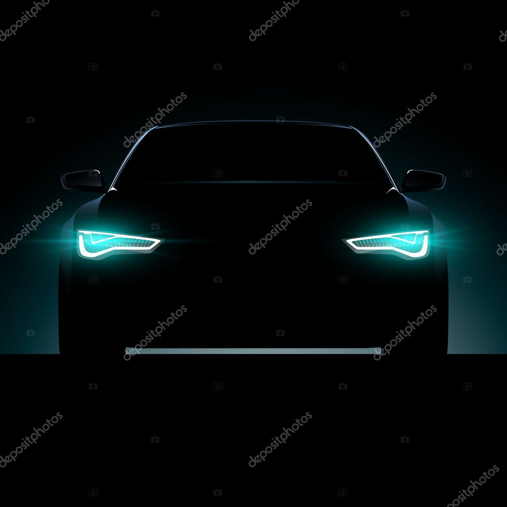 Car silhouette with lights on