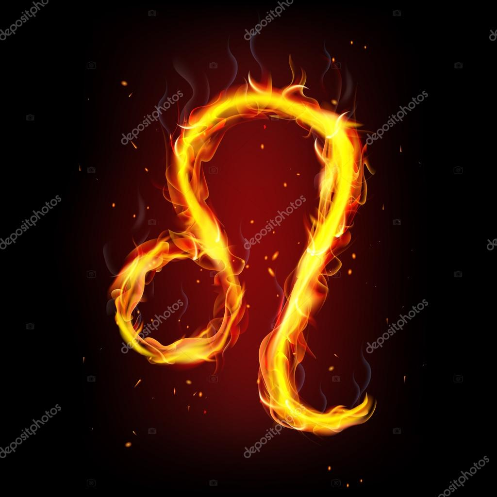 Zodiac Sign For Leo In Fire Flames