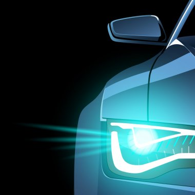 Abstract silhouette of sport car front light