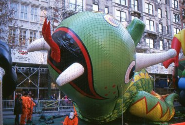 NEW YORK-NOV 21: On the day before the 2012 Macy's Thanksgiving Day Parade, all of the giant balloons are inflated with helium. Pictured here is the Flying Dragon balloon.
