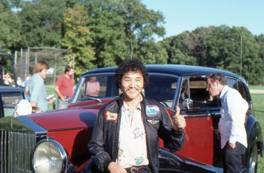 BRANCHBURG, NEW JERSEY, USA-SEPTEMBER 13: Well known balloonist and adventurer, Rocky Aoki, founder of Benihana restaurants, is pictured at the 1986 Somerset County Hot Air Balloon Festival.
