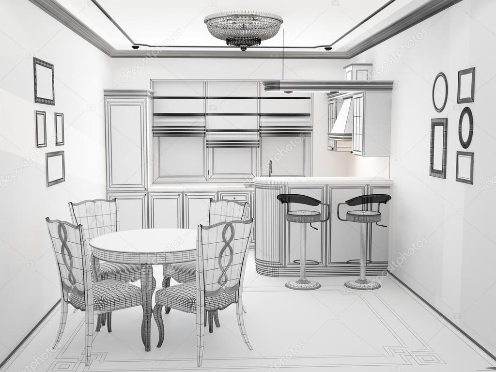 sketch kitchen design black and white sketch of kitchen interior stock photo 2288